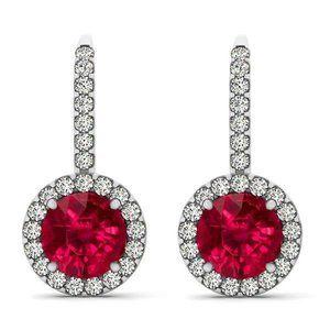 Jewelry - Brilliant Cut 8.50 Ct Ruby And Diamonds Dangle Ear
